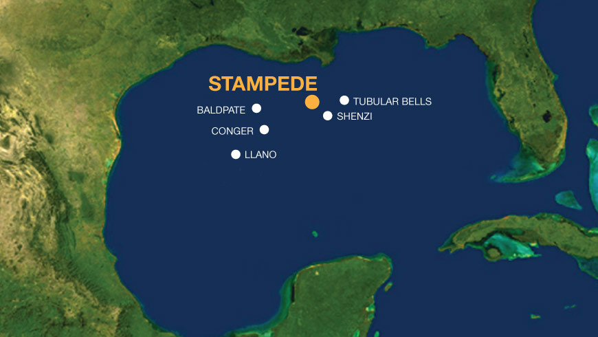 The Stampede field is located 115 miles south of Fourchon, La.