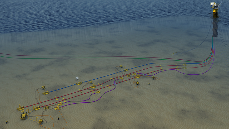 Tubular Bells' subsea umbilical, riser and flowline architecture lies 4,300 ft. below surface.