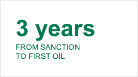 3 years from sanction to first oil