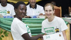 Sandra Gentile, General Manager, Hess Ghana Exploration Limited, with one of this year's 125 scholarship recipients