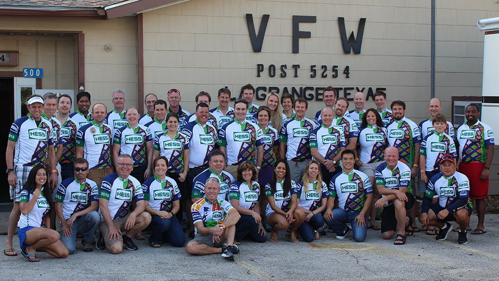 Team Hess poses at a stop on the 2015 BP MS 150 ride.