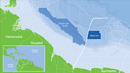 The Block 42 contract area, which is located offshore Suriname in the Suriname-Guyana basin along the northeast margin of South America.